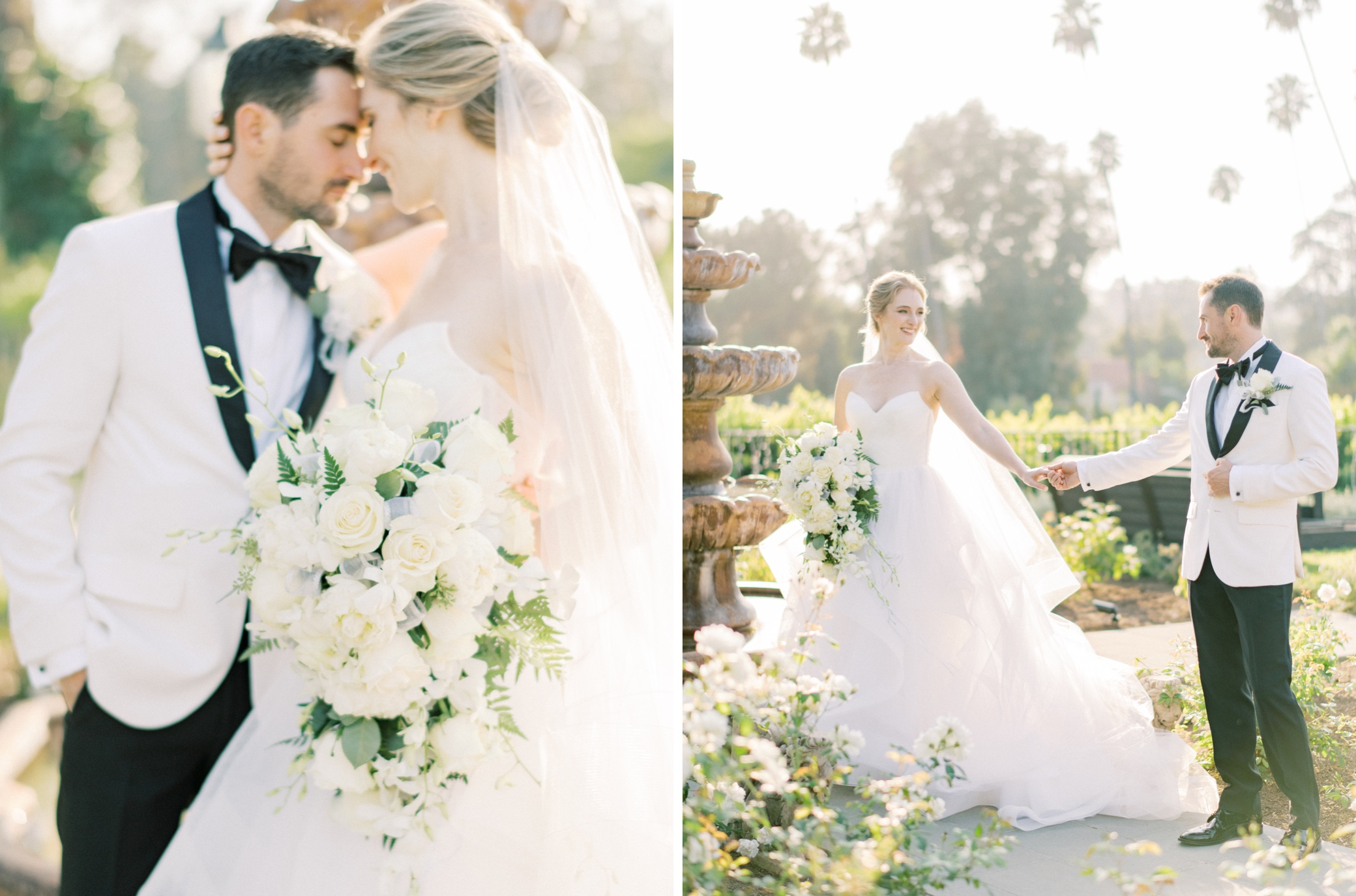 an intimate wedding portrait of a couple in beverly hills garden private estate