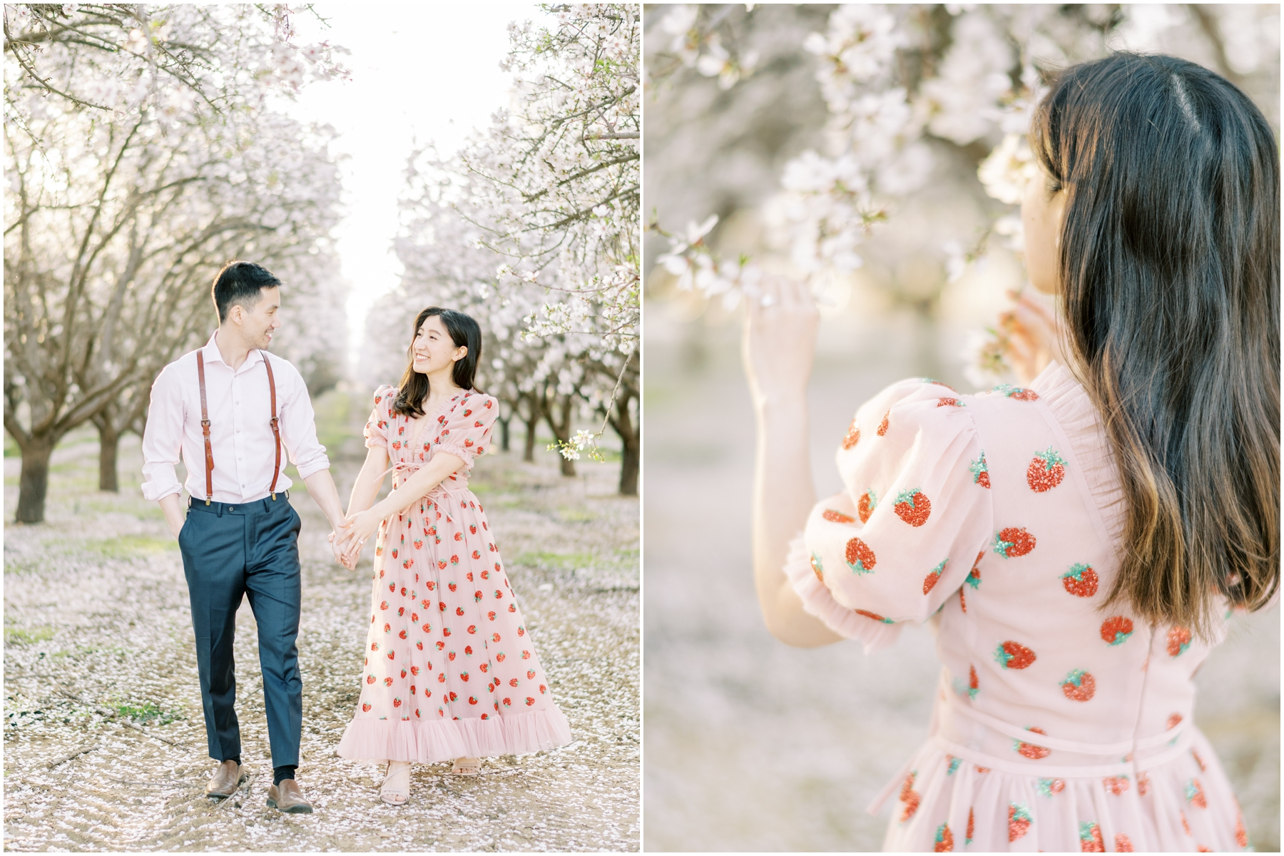 dreamy almond orchard engagement photos with petals with california photographer, sakura cherry blossom japan inspired engagement photos